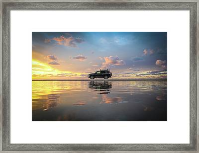 4wd Vehicle And Stunning Sunset Reflections On Beach Framed Print