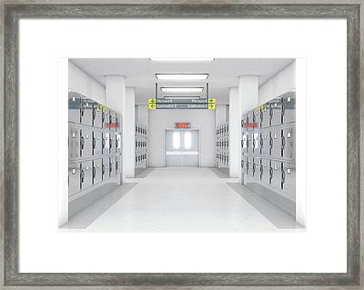 A Look Down The Aisle Of Fridges In A Clean White Ward In A Mortuary - 3d Render Framed Print