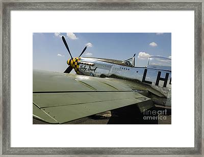 A P-51 Mustang Parked On The Ramp Framed Print by Rob Edgcumbe