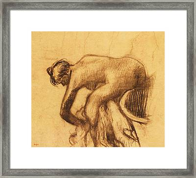 After The Bath, Woman Drying Herself Framed Print by Edgar Degas