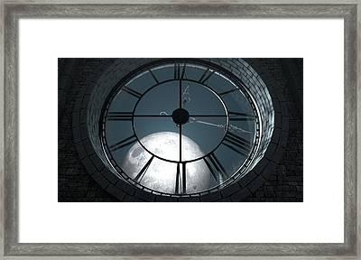 Antique Backlit Clock And Moon Framed Print by Allan Swart
