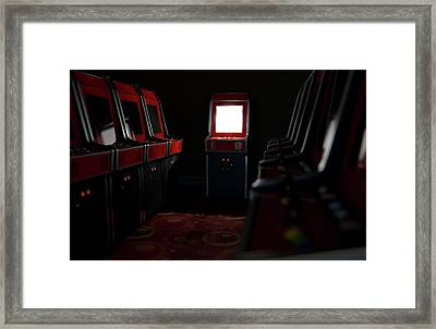 Arcade Aisle With One Illuminated  Framed Print
