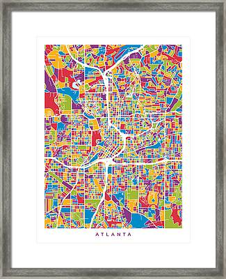 Atlanta Georgia City Map Framed Print