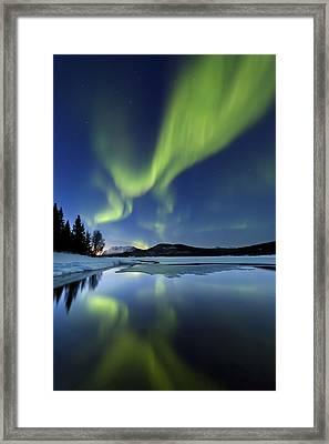 Aurora Borealis Over Sandvannet Lake Framed Print by Arild Heitmann