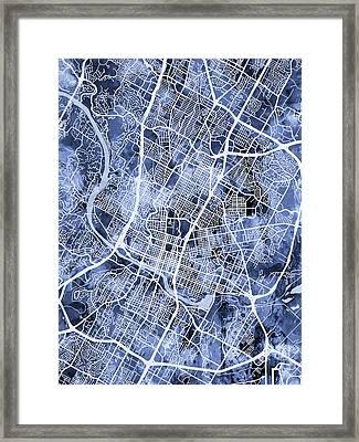 Austin Texas City Map Framed Print