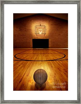 Basketball And Basketball Court Framed Print