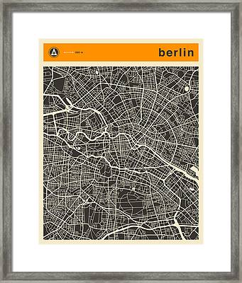 Berlin Map Framed Print by Jazzberry Blue