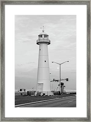 Biloxi Lighthouse With Moon - Bw Framed Print