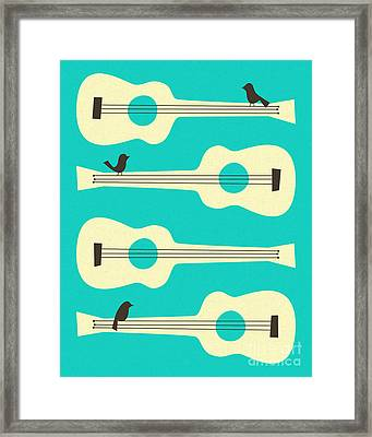Birds On Guitar Strings Framed Print by Jazzberry Blue