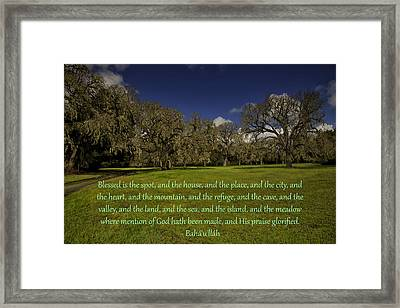 Framed Print featuring the photograph Blessed Is The Spot Prayer by Baha'i Writings As Art
