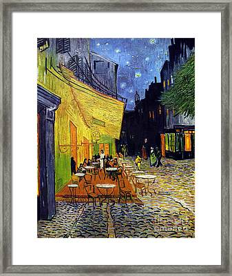 Cafe Terrace At Night Framed Print by Starry Night