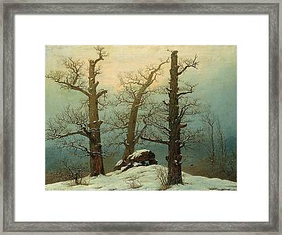 Cairn In Snow Framed Print