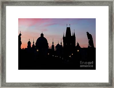 Charles Bridge At Sunrise, Prague, Czech Republic. Dramatic Statues And Medieval Towers. Framed Print