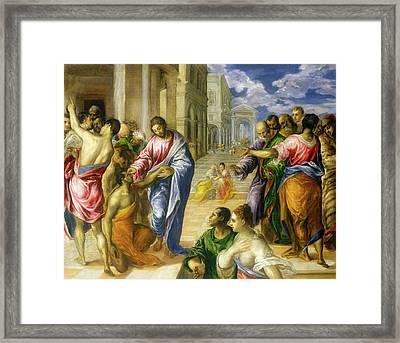 Christ Healing The Blind Framed Print
