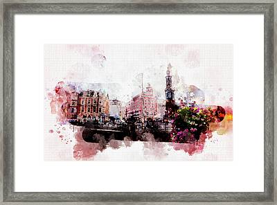 Framed Print featuring the digital art City Life In Watercolor Style  by Ariadna De Raadt