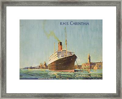 Cunard Line Promotional Brochure For Framed Print by Vintage Design Pics