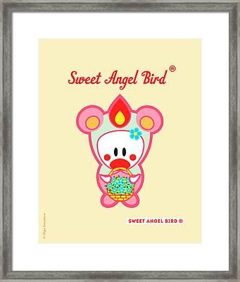 Cute Art - Sweet Angel Bird In A Pink And Mint Bear Costume Holding A Basket Of Blue Flowers Wall Art Print Framed Print