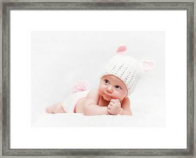 Cute Newborn Portrait Framed Print by Gualtiero Boffi