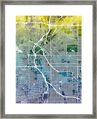 Denver Colorado Street Map Framed Print
