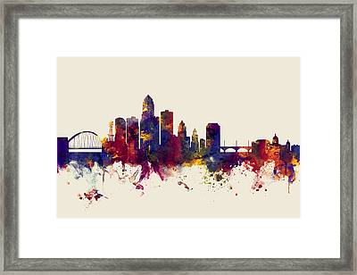 Des Moines Iowa Skyline Framed Print