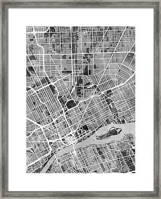 Detroit Michigan City Map Framed Print