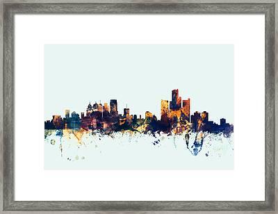 Detroit Michigan Skyline Framed Print by Michael Tompsett