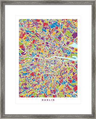 Dublin Ireland City Map Framed Print by Michael Tompsett