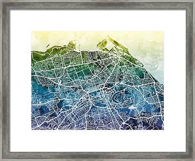 Edinburgh Street Map Framed Print by Michael Tompsett