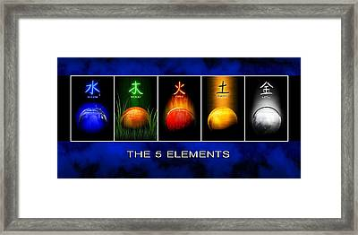 Framed Print featuring the digital art Asian Art 5 Elements Of Tcm by John Wills