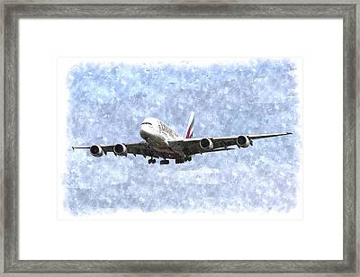 Emirates A380 Airbus Watercolour Framed Print