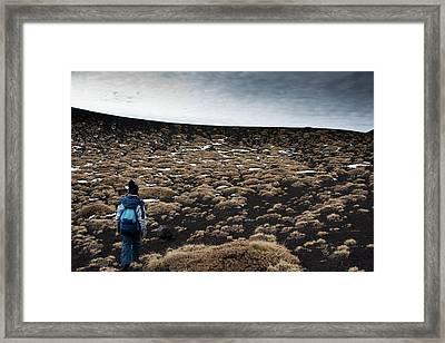 Etna, Red Mount Crater Framed Print