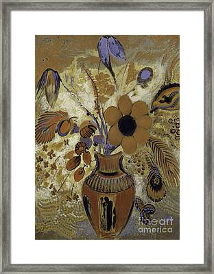Etruscan Vase With Flowers Framed Print