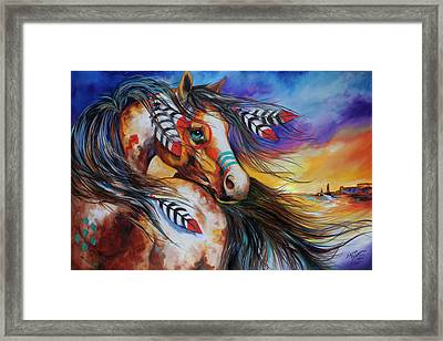 5 Feathers Indian War Horse Framed Print by Marcia Baldwin