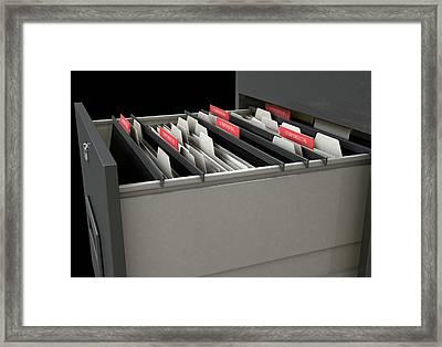 Filing Cabinet Drawer Open Confidential Framed Print