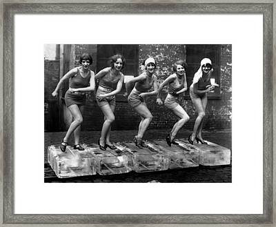 5 Flappers On Ice - Roaring Twenties Framed Print