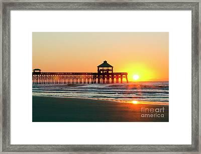 Folly Beach Pier Sunrise Framed Print by Dustin K Ryan