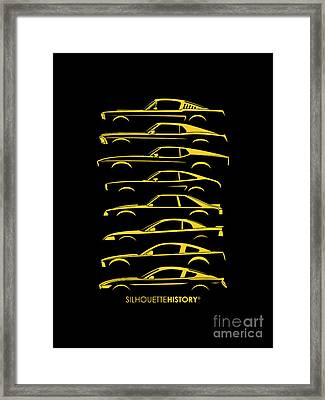 Ford Mustang Silhouettehistory Framed Print