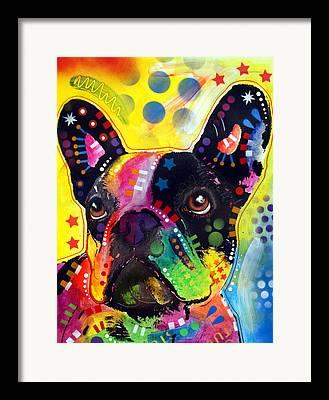 Bulldog Paintings Framed Prints