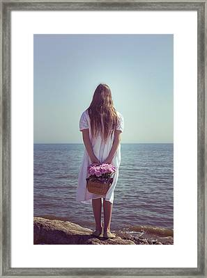 Girl With Flowers Framed Print by Joana Kruse