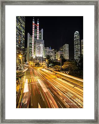 Hong Kong Night Rush Framed Print