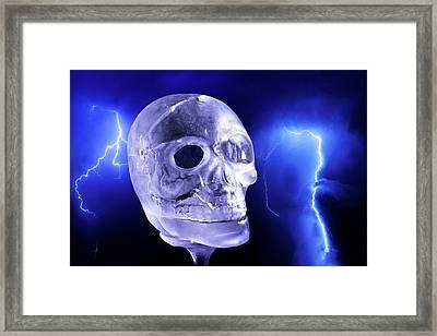 Ice Skull'pture Framed Print