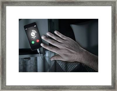 Incoming Call Cellphone Next To Bed Framed Print