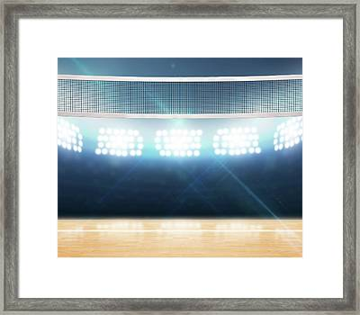 Indoor Floodlit Volleyball Court Framed Print