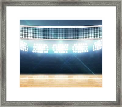 Indoor Floodlit Volleyball Court Framed Print by Allan Swart