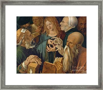 Jesus Among The Doctors Framed Print by Albrecht Durer