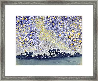 Landscape With Stars Framed Print by Henri-Edmond Cross