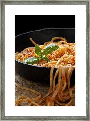 Linguine With Basil And Red Sauce In Cast Iron Pan Framed Print by Erin Cadigan