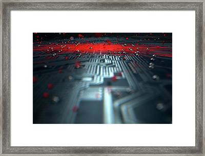 Macro Circuit Board Infection Framed Print by Allan Swart