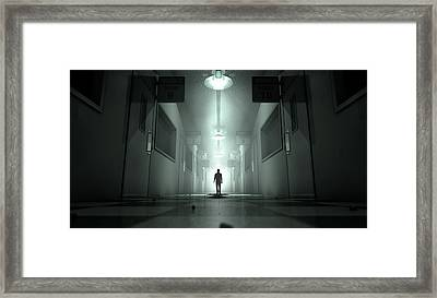Mental Asylum With Ghostly Figure Framed Print