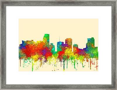 Miami Florida Skyline Framed Print by Marlene Watson